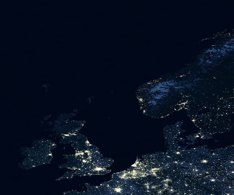 The UK and Norway, illustration from space