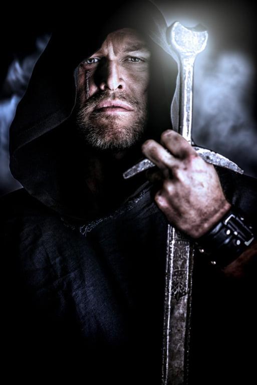 Viking sword with a gloomy sky