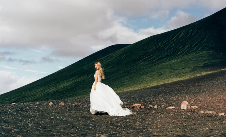 Viking woman in a wedding dress