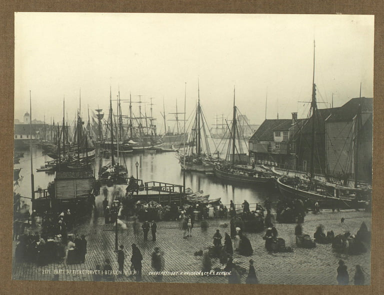 The busy Bergen harbour. Taken sometime in the late 19th century.