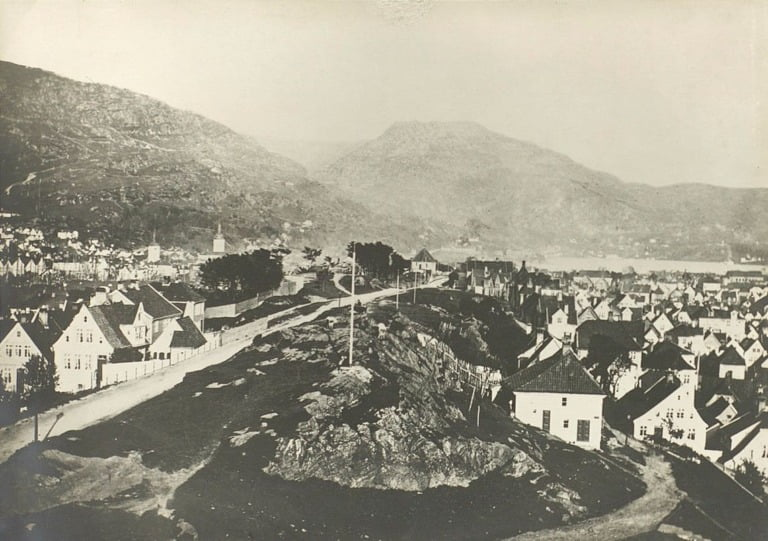 Bergen view from Frederiksberg. Taken sometime in the late 19th century.