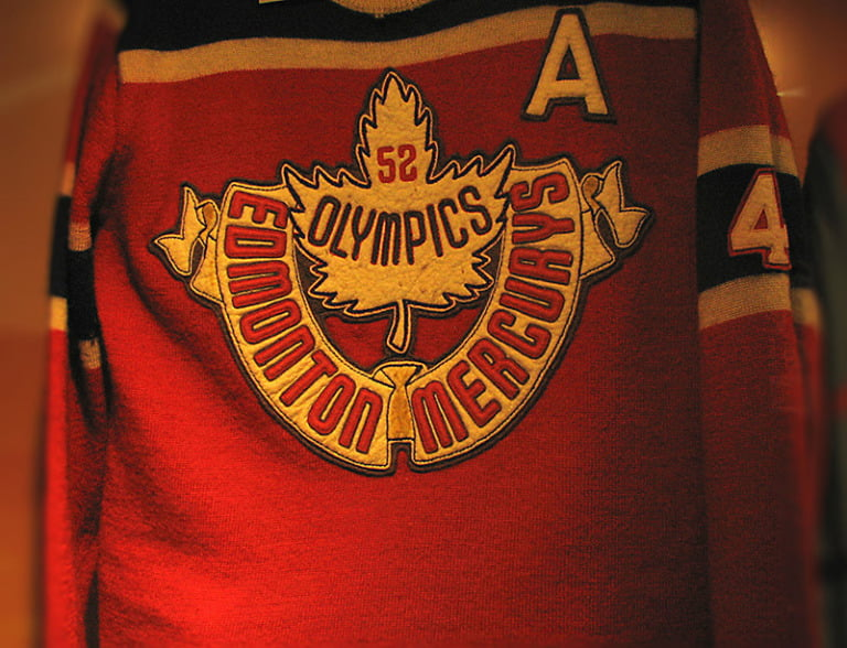 The jersey of the Canada 1952 Olympic team the Edmonton Mercurys.