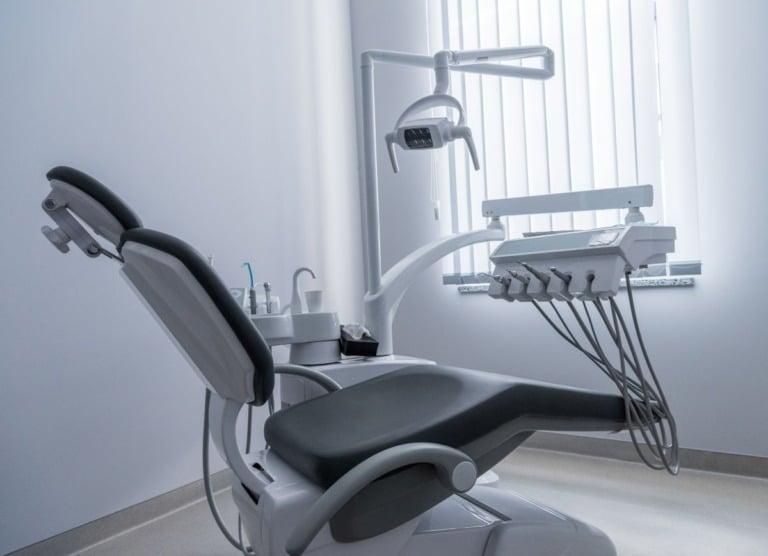 Dentist chair in bright Norwegian dental office