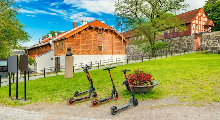 Electric scooters in old Oslo, Norway