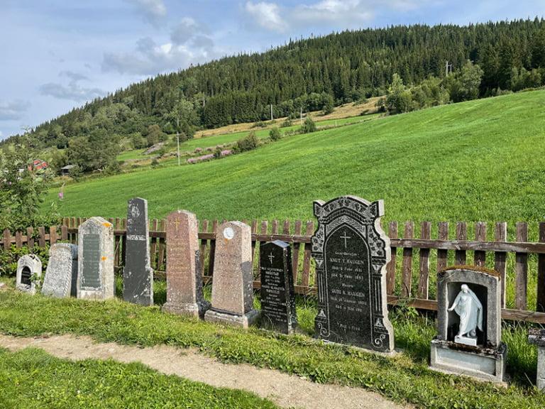 Gravestones in the graveyard of Hegge stave church