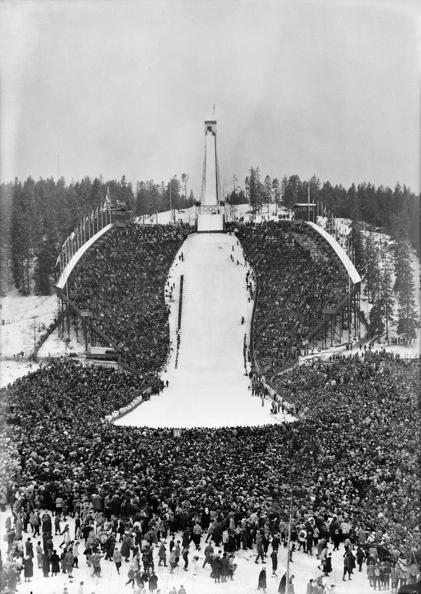 Holmenkollen Ski Jump in Oslo, Norway, in 1952.