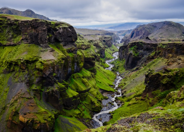 Iceland landscape - canyon and river