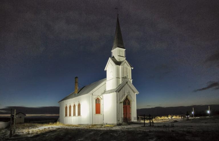 Nesseby church in the December light.
