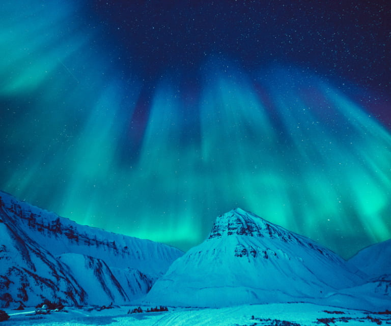 Northern lights above the Arctic archipelago Svalbard