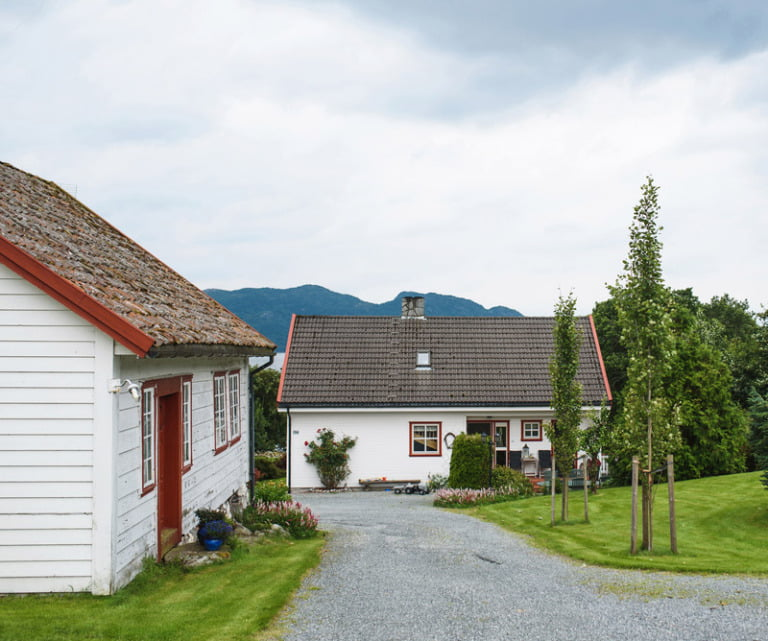 Norwegian village with white houses