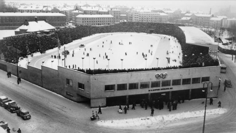 The 1952 Winter Olympics at Bislett Stadion in Oslo, Norway