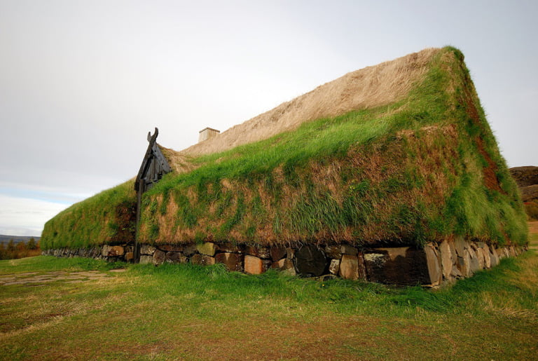 A reconstruction of the Viking Longhouse Stöng in Iceland.