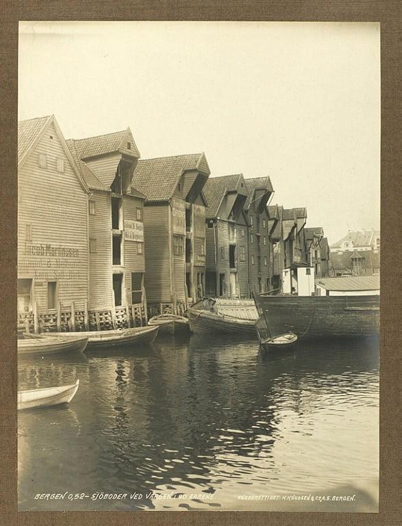 Boathouses on Strandsiden, Vågen. Taken in the 1890s.