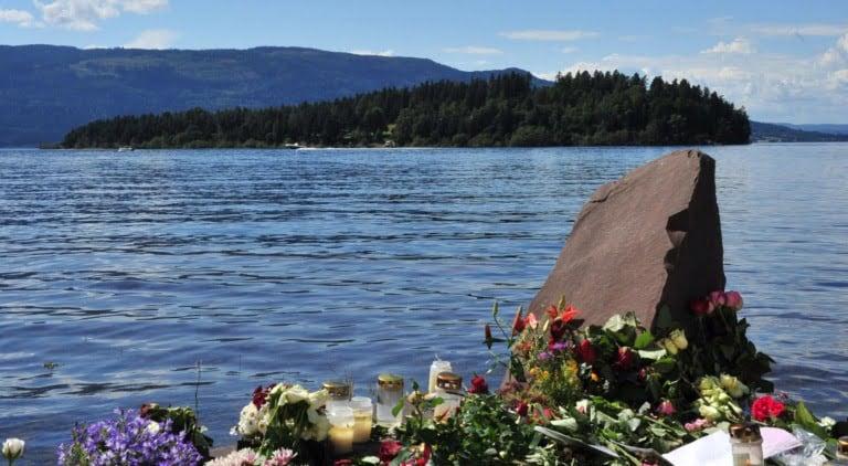 Utøya island in Norway with memorial flowers