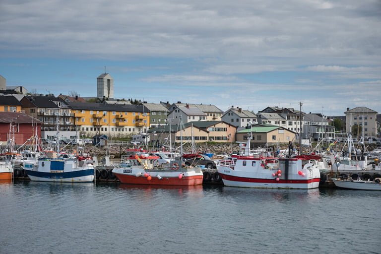 Vadsø harbour on a sunny day