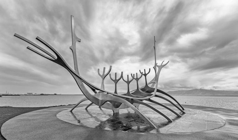 The Sun Voyager sculpture by Jón Gunnar Árnason