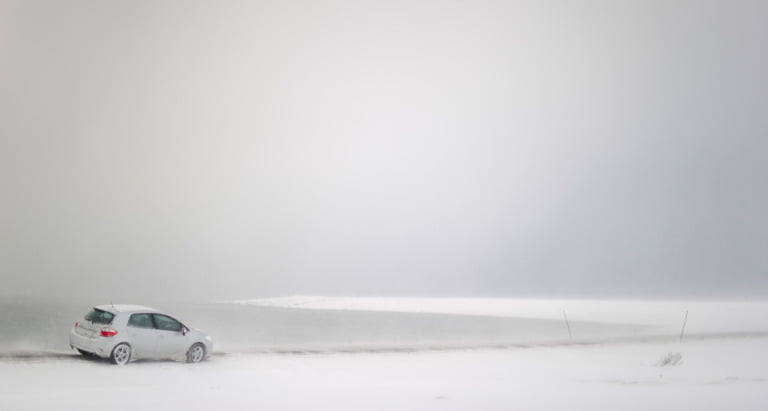 A whiteout on the Varanger national scenic route.