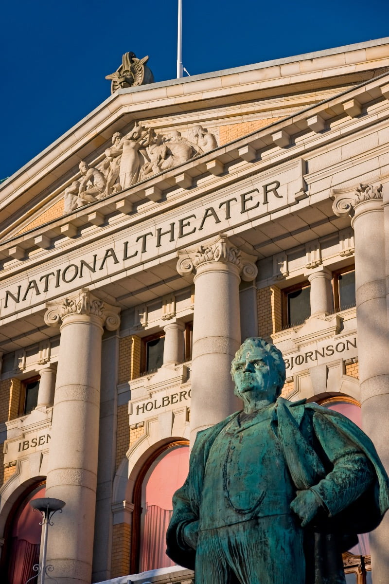 Close-up image of Oslo's National Theatre exterior.