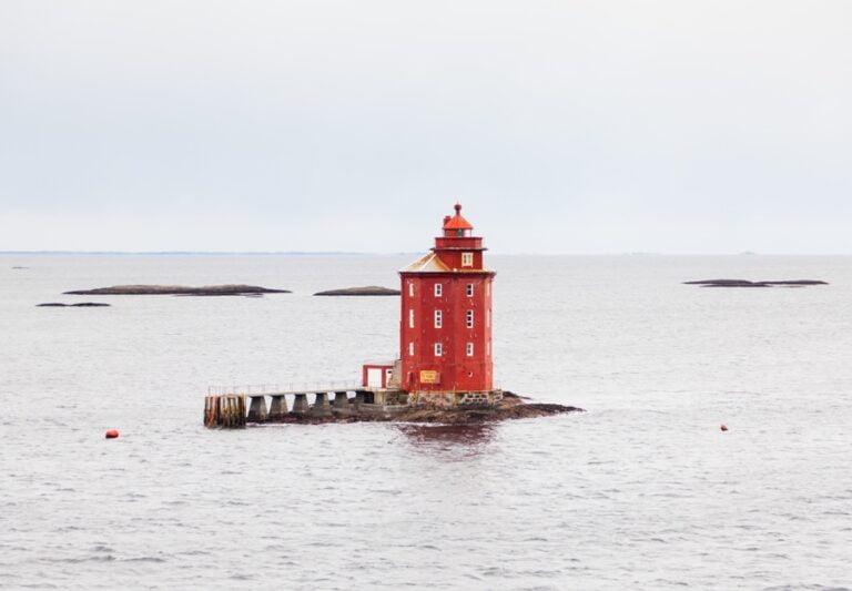Kjeungskjaer octagonal lighthouse in central Norway.
