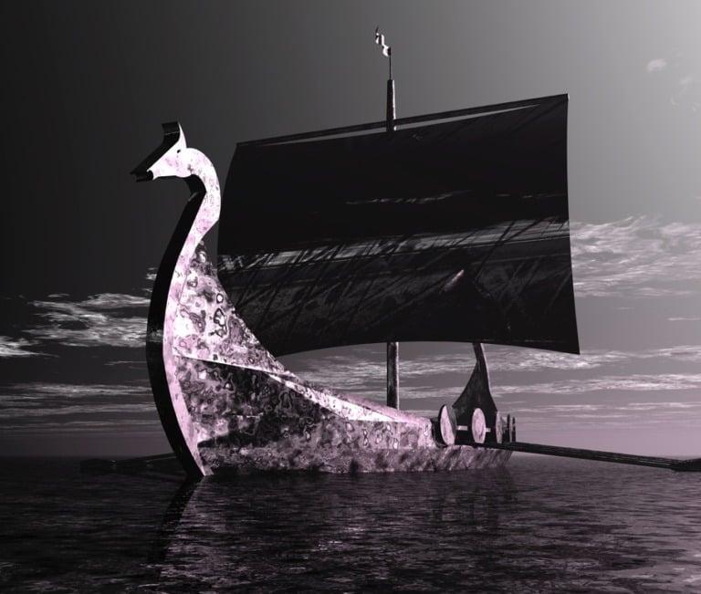 A Viking ship at sea