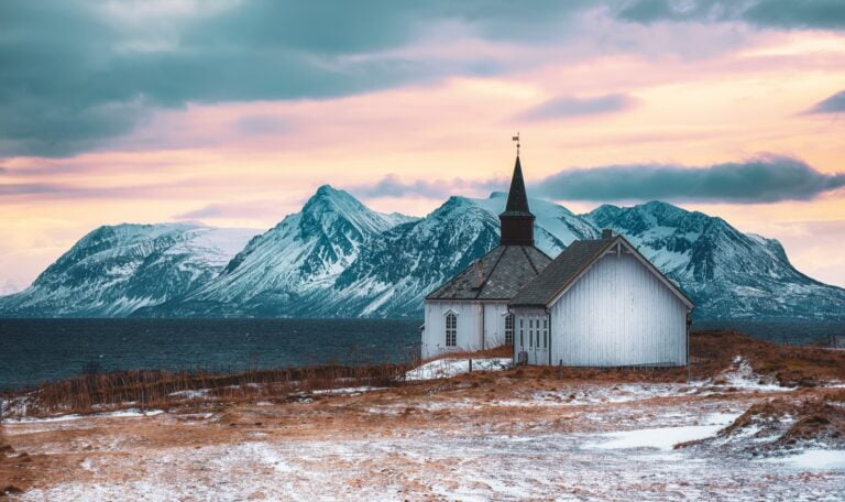 A Norwegian wooden church in the north of Norway
