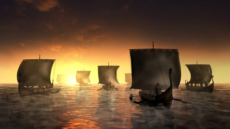 Illustration of Viking ships arriving in Spain