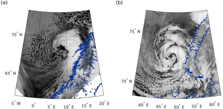 Satellite images of two polar lows in Northern Norway