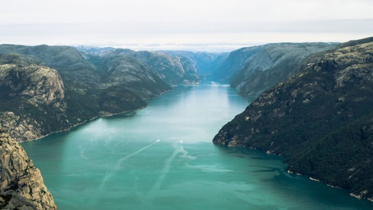 A panoramic photograph of the Lysefjord in Norway