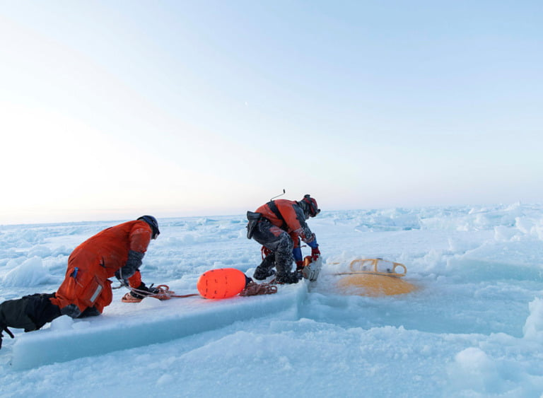 """Coast guard vessel """"Svalbard"""" in the Beaufort Sea north for Alaska, to assist taking up important research moorings."""