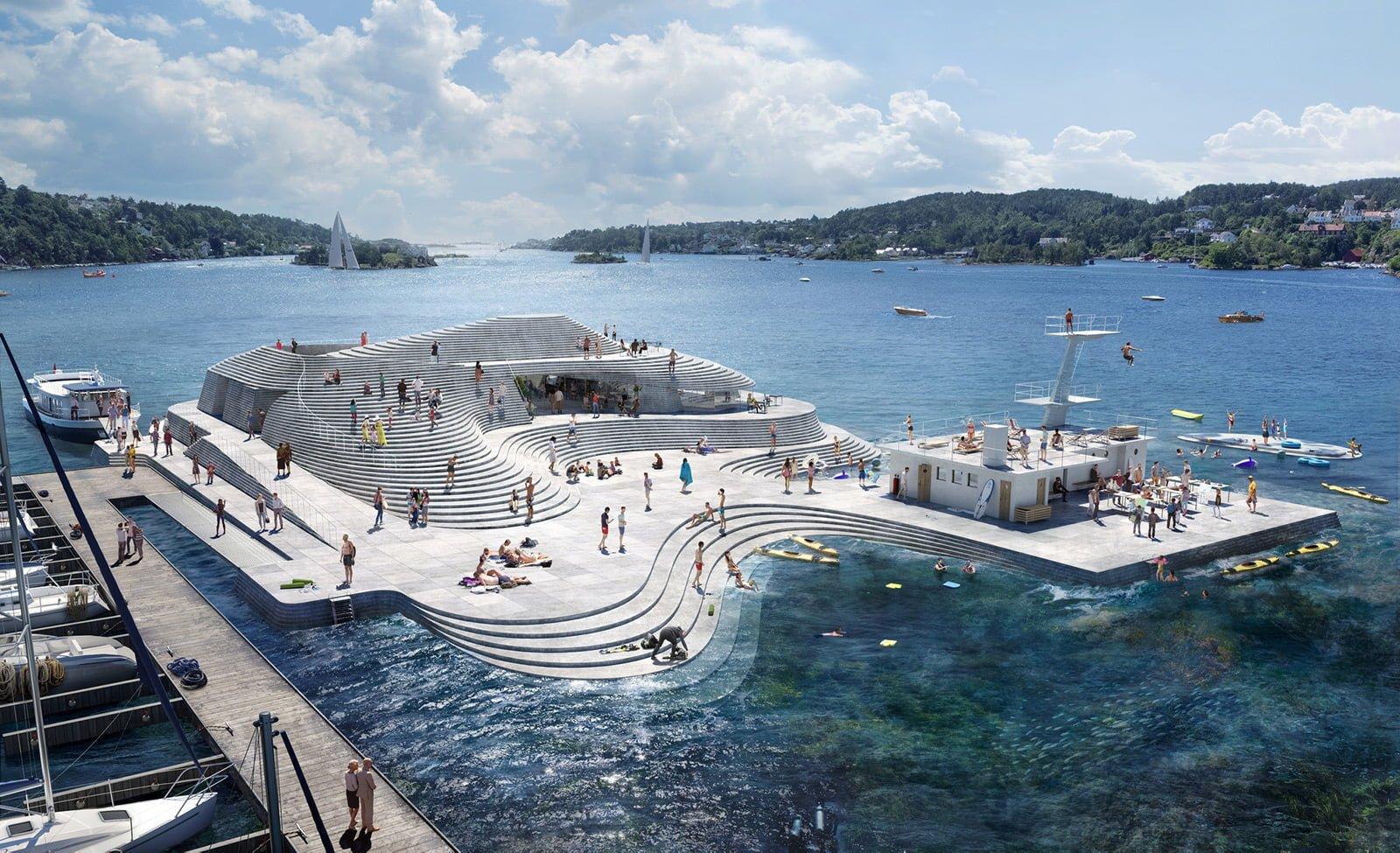 Arendal harbour baths design.
