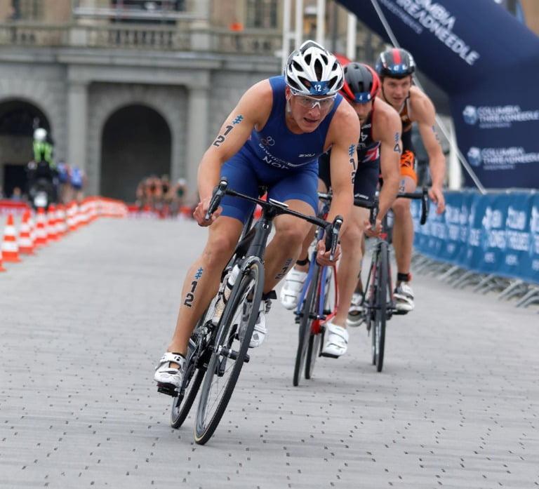 Kristian Blummenfelt and competitors in the Men's ITU World Triathlon series event in 2016 in Stockholm, Sweden.