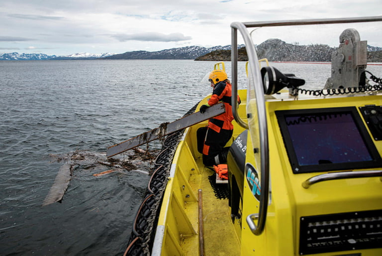 Coastguard Harstad assists with cleanups after a landslide in Alta, Norway.