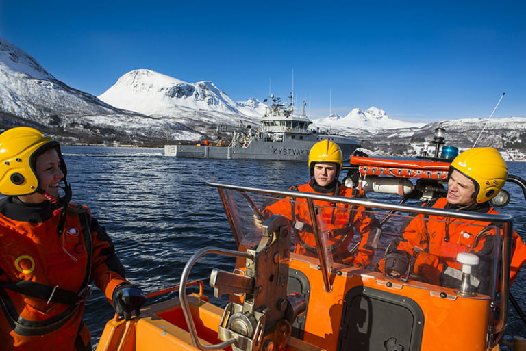 Privates practising with a rescue boat