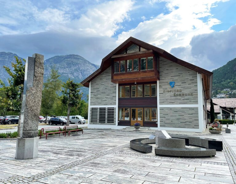 Eidfjord municipality offices in Fjord Norway.