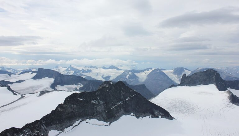 Galdhøpiggen mountain peaks in Jotunheimen National Park, Norway