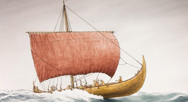 Illustration of Tune Viking ship at sea