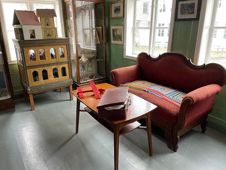 Inside a building at Gamle Bergen Museum