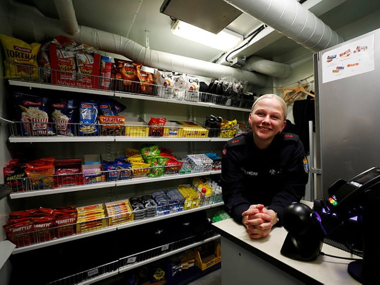 From the kiosk onboard the Coast Guard wessel CG Senja, run by sailor Solheim.