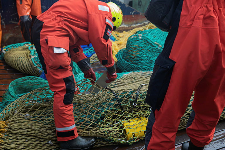 KV Bergen inspects a fishing vessel in the North Sea.