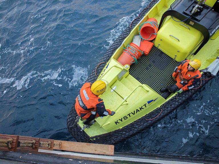 CGV Sortland inspects a fish vessel in the North Sea.