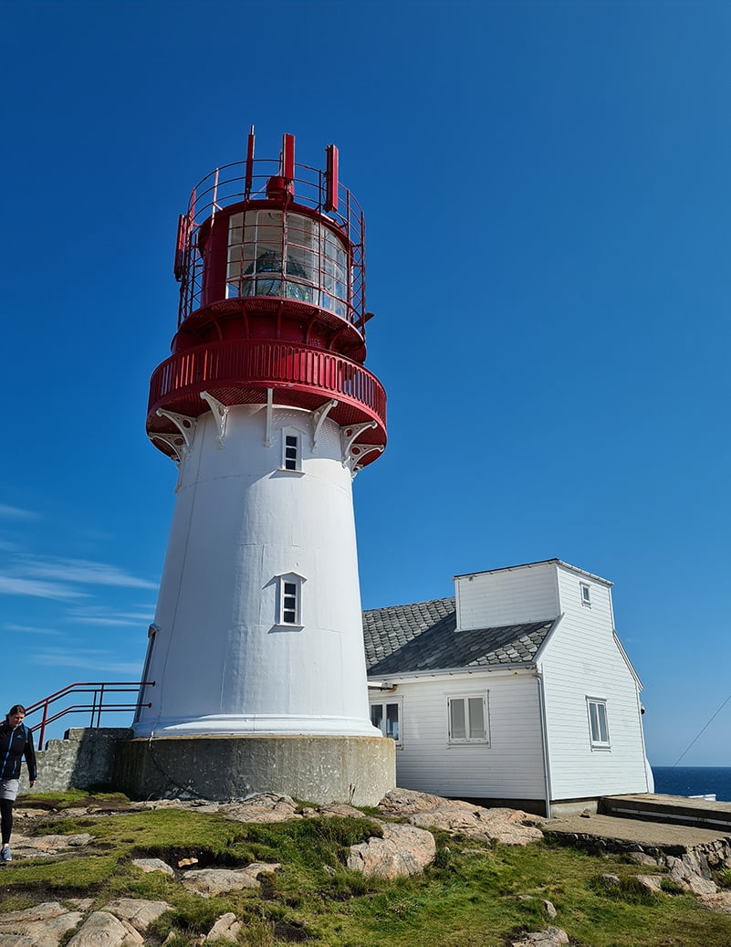 The red and white Lindesnes lighthouse