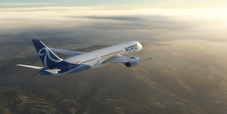Norse Atlantic's new livery on a Boeing 787-9 Dreamliner