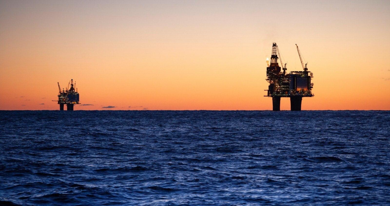 Norway oil rigs in the Norwegian Sea