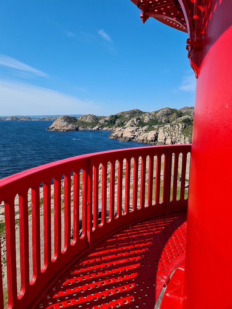 Red walkway at the top of Lindesnes lighthouse