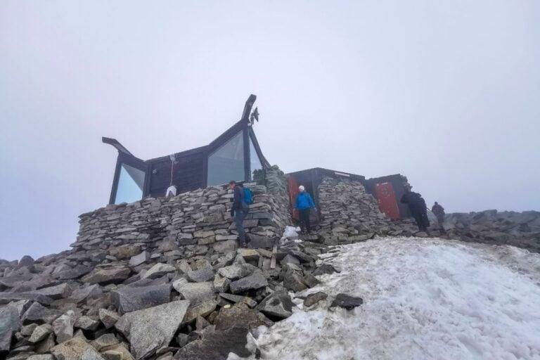 The summit building of Galdhøpiggen mountain in Norway.