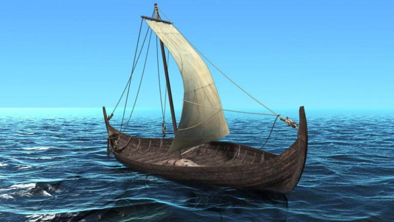 Illustration of the Tune ship at sea