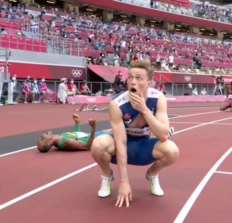 Norway's Karsten Warholm after winning Gold