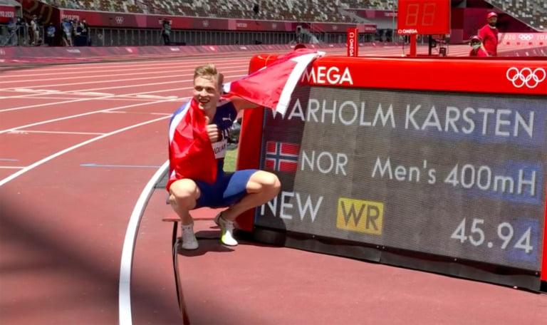 Karsten Warholm after winning Olympic Gold.