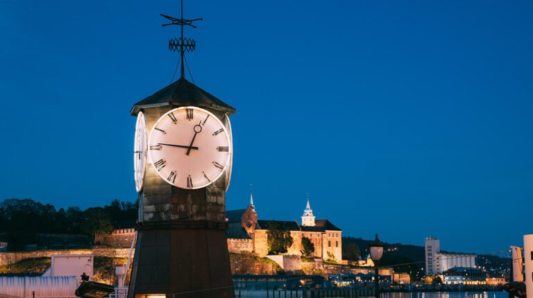 The clock at Aker Bryggen in Oslo, Norway