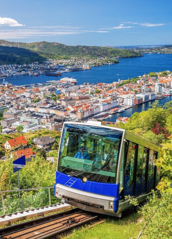 Bergen's funicular railway climbing the hillside of Mount Fløyen